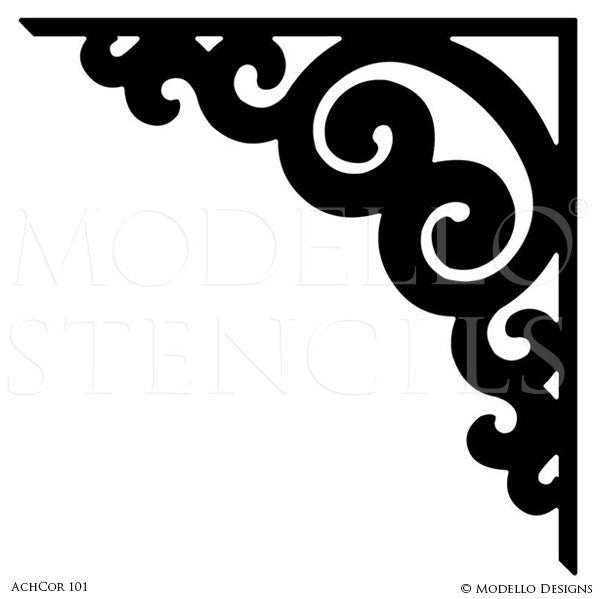 Corner Adhesive Stencils for Professional Decorative Painting Walls and Ceilings - Modello Stencils