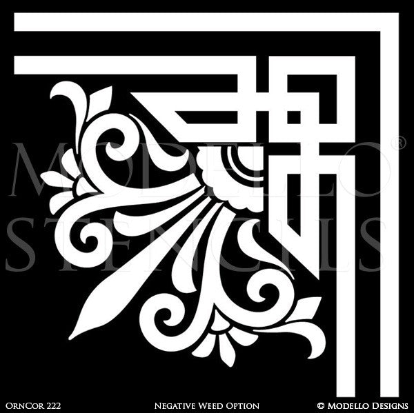 Art Deco Design and Painted Decor - Ceiling Corner Stencils from Modello Custom Stencils