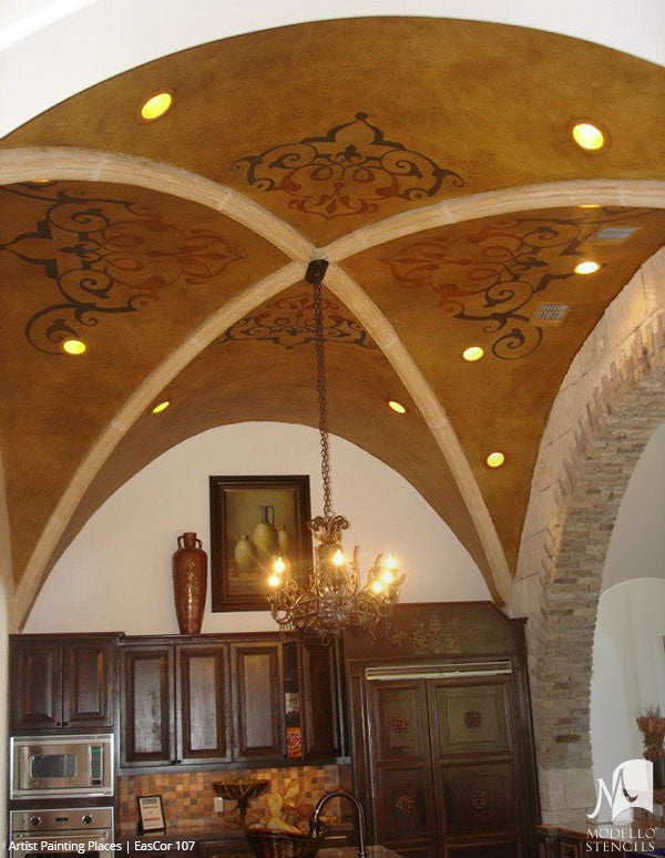 Painted Ceiling Stencils with Classic European Style - Modello Custom Stencils