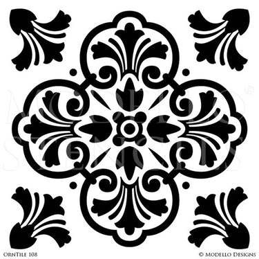 Classic European Tiles Stencils for Painting Walls and Furniture - Modello Custom Stencils