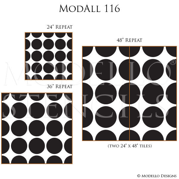 Decorative Stencils for Painting Walls with Designer Wallpaper Look - Modello Custom Stencils
