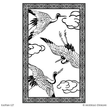 Large Wall Art Poster Painted Birds & Animals - Oriental Asian Wall Mural Stencils - Modello Custom Stencils