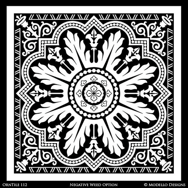 Traditional Tile Designs for Tiled Wall Mural Painting Projects and Decorative Ceilings - Modello Custom Stencils