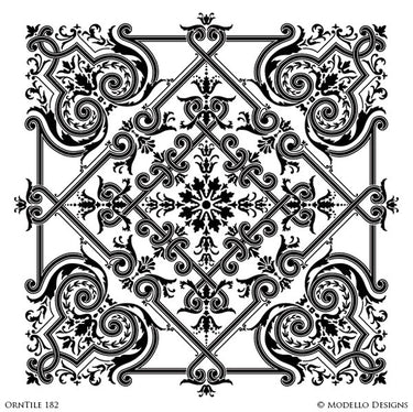 Painting Custom Tiles Stencils and Large Wall Mural or Stenciled Ceiling - Modello Custom Stencils