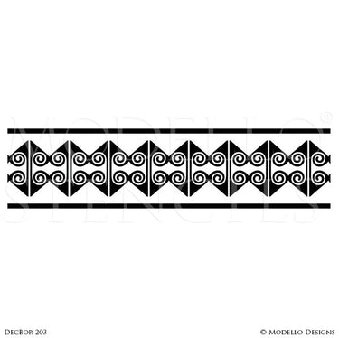 Geometric Art Deco Interior Design - Custom Painted Wall Borders Ceiling Border Stencils