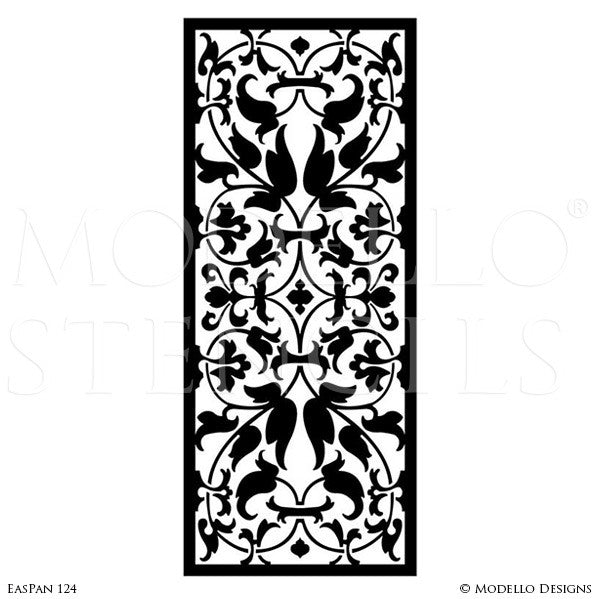 Moroccan, Asian, Indian Decor Ideas and Exotic Interiors - Custom Wall Art Panels and Painted Ceiling Stencils