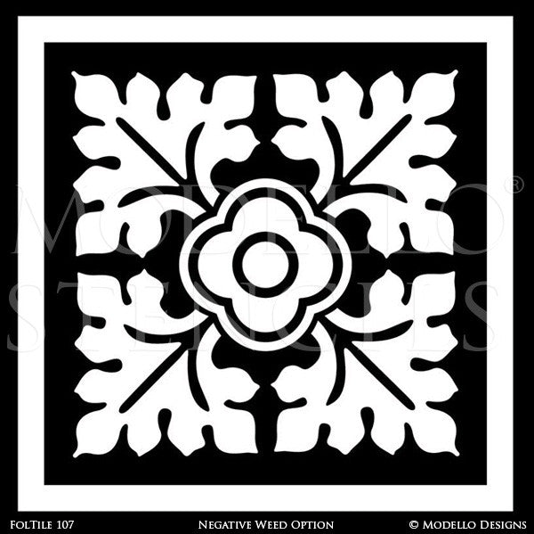 Flower Tile Pattern to Decorate DIY Painted Floors and Walls - Modello Custom Stencils