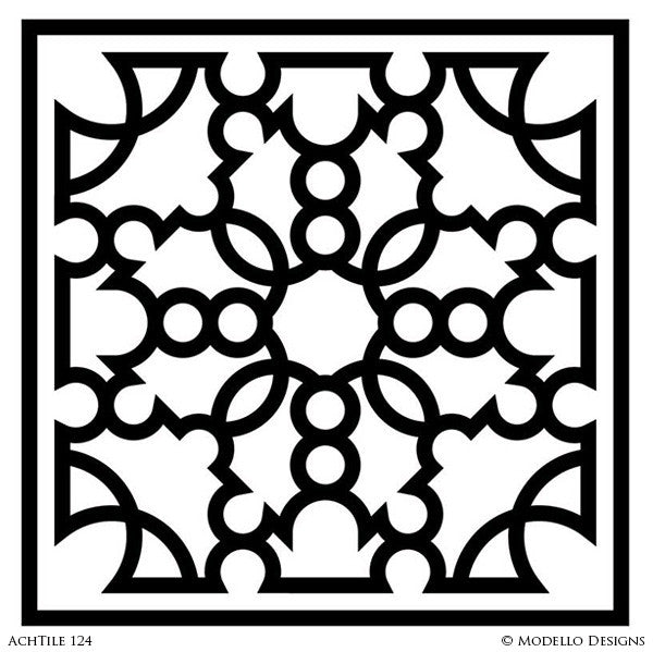 Painted Faux Tile Designs on Walls and Floors - Modello Custom Stencils