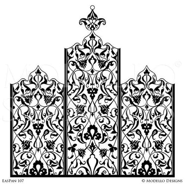 Boho Chic Wall Art Stencils - Panels Borders Designs on Wall - Moroccan Asian Eastern Oriental Indian Decor - Modello Custom Stencils