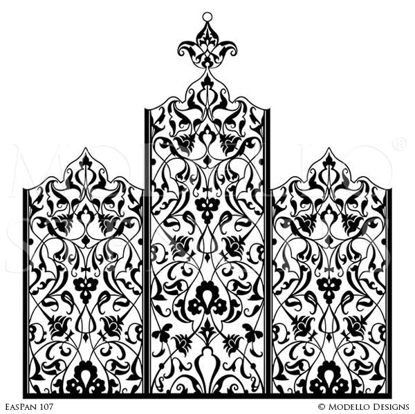 Boho Chic Wall Art Stencils   Panels Borders Designs On Wall   Moroccan  Asian Eastern Oriental