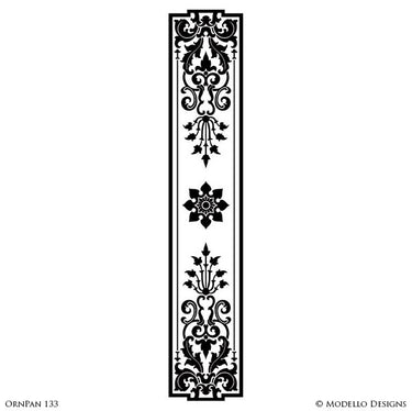 Long Panel Shape Painted on Furniture, Archways, Glass Windows - Ornamental Designs - Modello Custom Furniture Panel Stencils