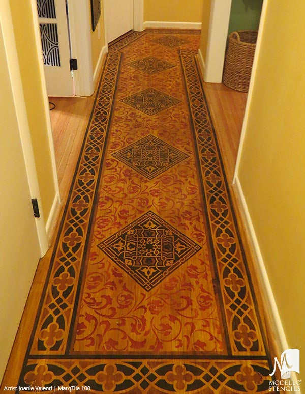 Faux Painted Carpet Rug on Wood Floor Makeover - Modello Custom Tile Stencils