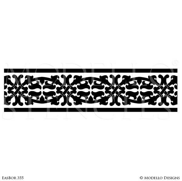 Border Stencils for Painting Ceiling or Wall with Moroccan Asian Indian Designs - Modello Custom Stencils