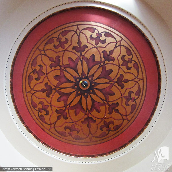 Colorful Exotic Decor and Design - Modello Custom Ceiling Medallions Stencils