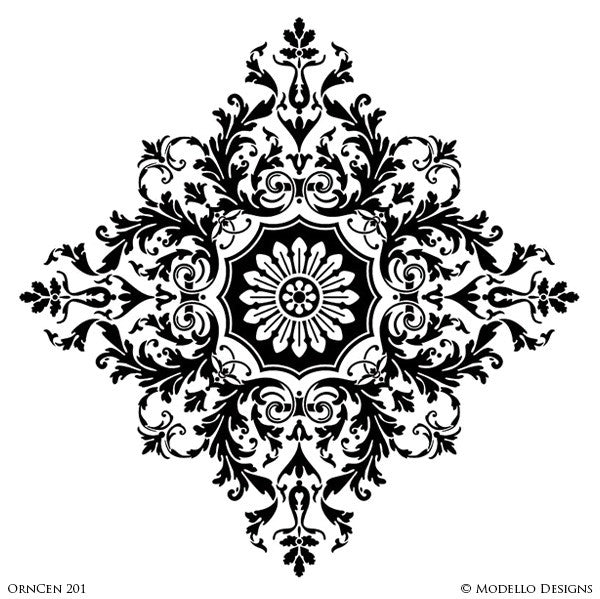 Large Designer Medallion Stencils for Decoratitve Ceilings and Wall Murals - Modello Custom Stencils