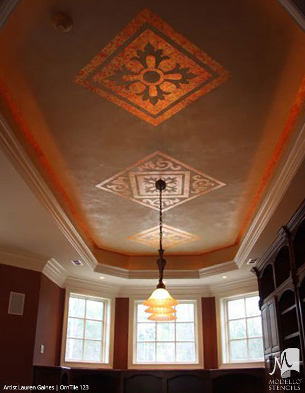 Custom Ceiling and Floor Makeover with Tile Stencils for Decorative Painting