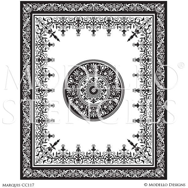 Grand Ceiling Stencils with Ornate Designs pr Painted Floor Patterns - Modello Custom Stencils