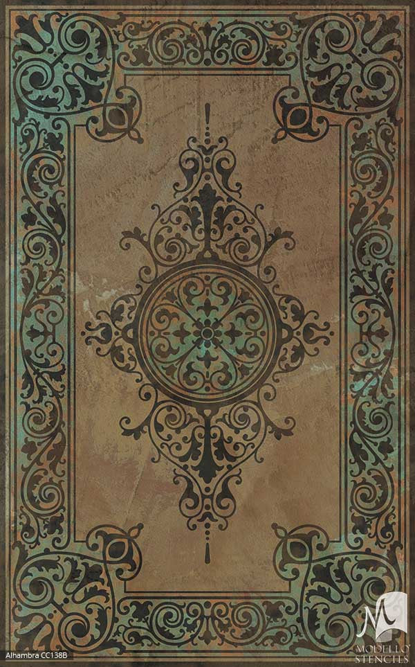 Custom Color Painted Carpet Panel Stencils for Flooring - Large Modello Stencils