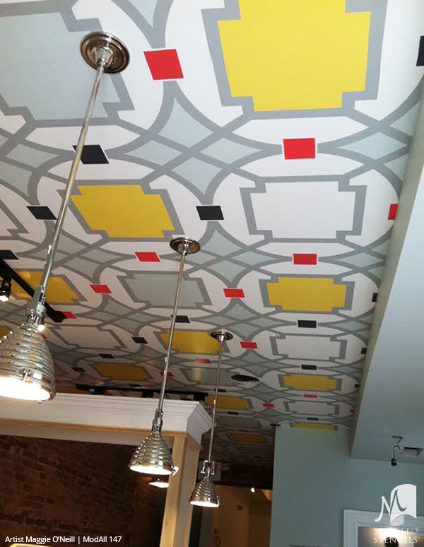 Colorful Painted Ceiling with Modern Geometric Patterns - Modello Custom Stencils