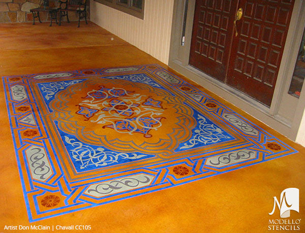 Custom Cut Stencils for Painting Concrete Floors with Large Patterns - Modello Custom Self Adhesive Stenciling
