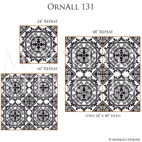 European and Old World Home Decor - Custom Tile Stencils for Painting Furniture, Floor, Walls, Ceiling