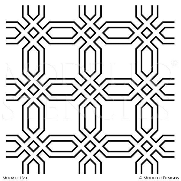 Modern and Retro Painted Stenciled Wall Decor - Geometric Wall Designs - Large Designer Wall Stencils - Modello Designs