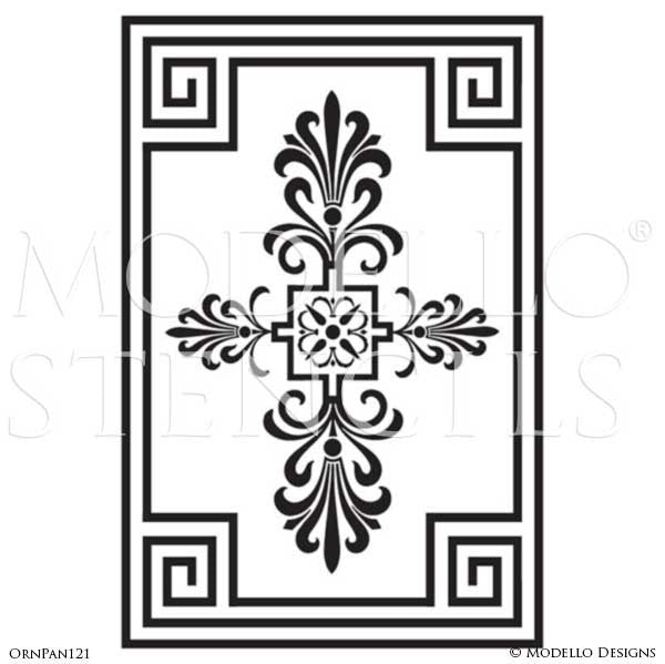Stenciling and painting wall murals with ornamental wall panel designs modello custom vinyl stencils