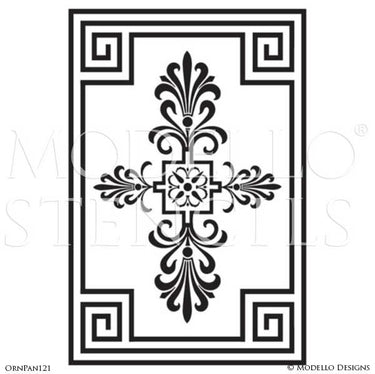 Stenciling and Painting Wall Murals with Ornamental Wall Panel Designs - Modello Custom Vinyl Stencils