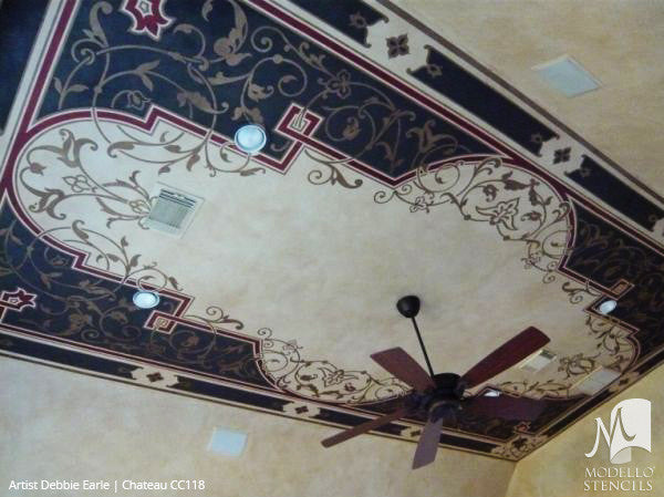 Decorative Stencils Painted on Grand Ceiling Panels - Modello Custom Stencils