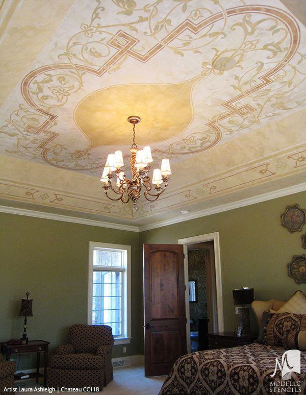 Painting Ceiling Designs with Custom Classic Panel Stencils
