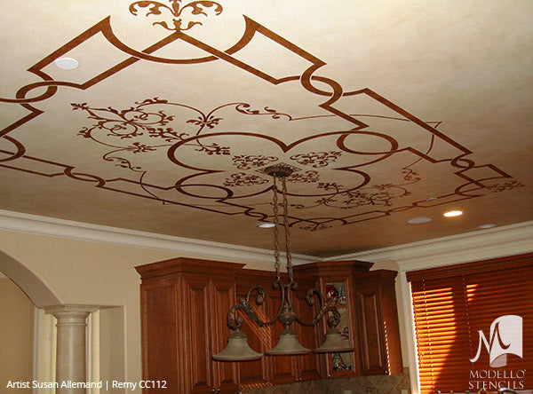Painting Ceiling Panel Shape Designs with Custom Classic Stencils