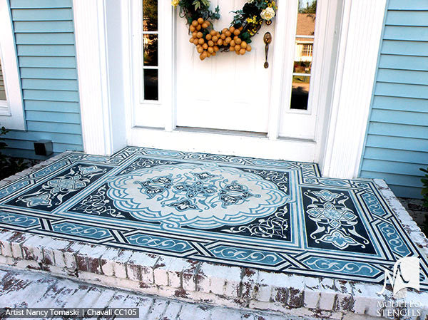 Colorful Custom Decor with Large Carpet Stencils - Decorative Faux Rug on Concrete Patio