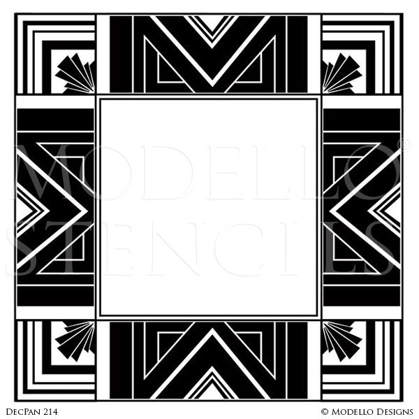 Art Deco Geometric Interior Design   Custom Adhesive Square Wall Panel  Stencils For Decorating Painting