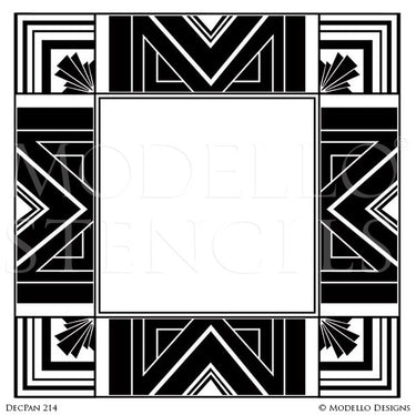 Art Deco Geometric Interior Design - Custom Adhesive Square Wall Panel Stencils for Decorating Painting