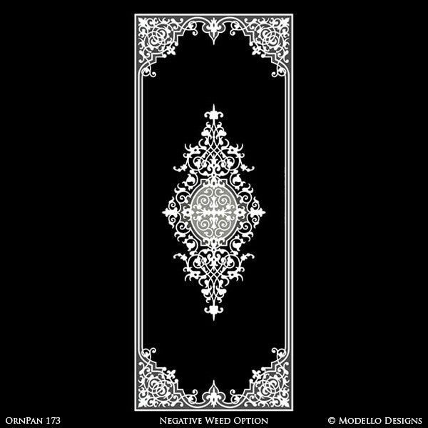 Moroccan Asian Indian Design and Interiors - Painted Wall Panel Patterns - Modello Custom Stencils for Decorating Hallway Hardwood Floors