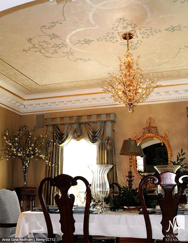 Classic European Panel Ceilings Stencils for Painting Custom Home Decor