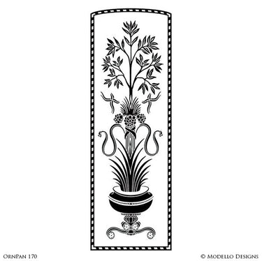 Tall Wall Panels Borders for Decorative Painting - Stenciled Flower Wall Graphics - Modello Custom Wall Art Stencils