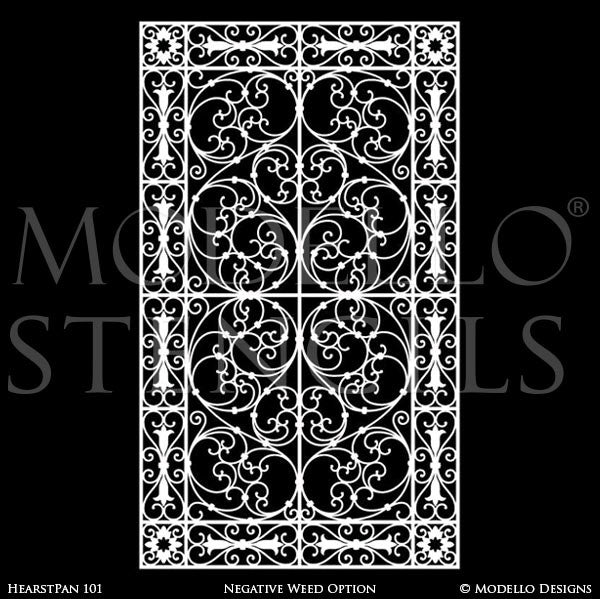 Old World and European Design and Decor - Large Adhesvie Wall Panel Window Stencils - Modello Custom Stencils