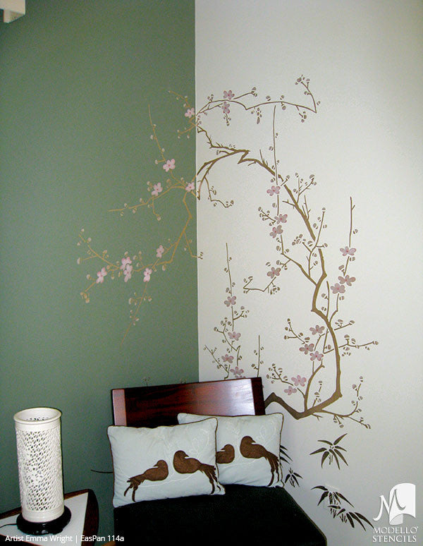 ... Large Cherry Blossom Tree Branch Wall Mural Stencils   Asian Oriental  Decor Painted With Modello Custom ... Part 63