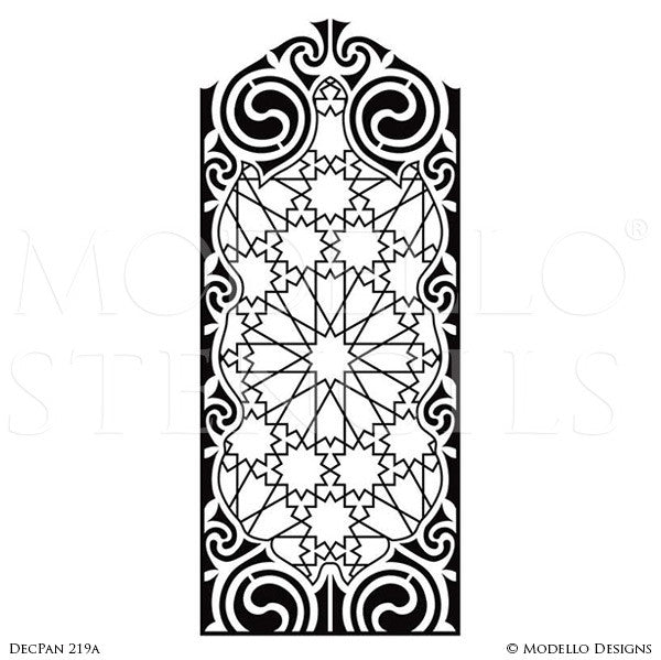 Painting Art Deco Designs and Modern Geometric Patterns on Large Wall Panels - Modello Custom Stencils