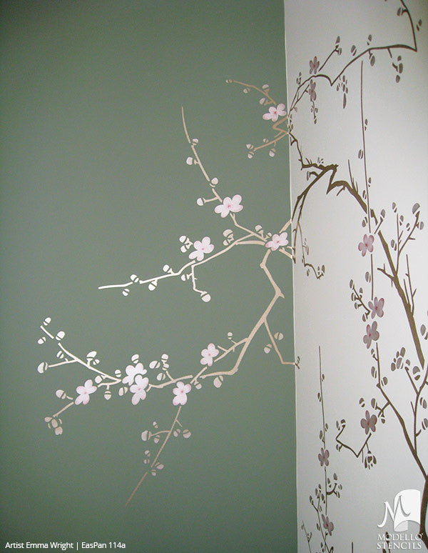 ... Large Cherry Blossom Tree Branch Wall Mural Stencils   Asian Oriental  Decor Painted With Modello Custom