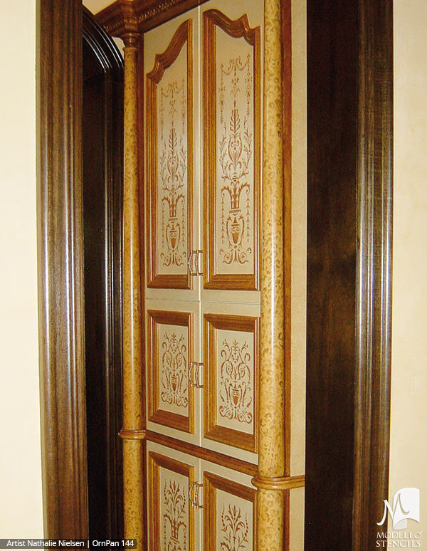 Painted Wood Door Panels - Modello Custom Stencils for Decorating
