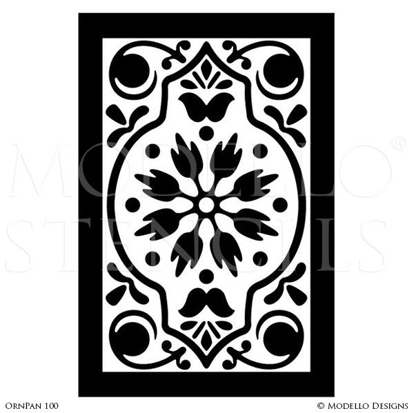 Large Flower Designs Painted on Custom Wall Designs - Modello Wall Panel Stencils