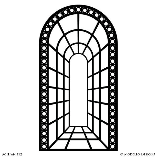 Decorative Wall Art Graphics - Large Entry Arch Way Designs - Modello Custom Stencils