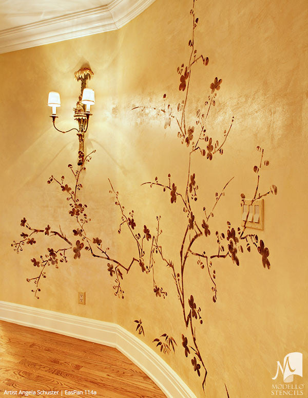 Large Cherry Blossom Tree Branch Wall Mural Stencils - Asian Oriental Decor Painted with Modello Custom Stencils
