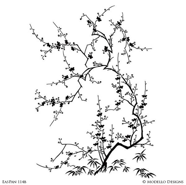 Custom Designed Wall Art Stencils - Asian Japanese Cherry Blossom Tree Branch Stencils - Modello Stencils