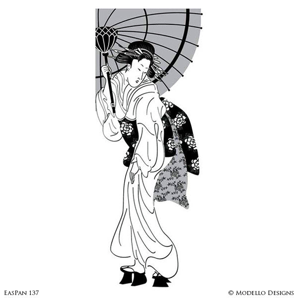 Painted Geisha Asian Japanese Wall Decor - Custom Adhesive Wall Art Stencils for Professional Decorating
