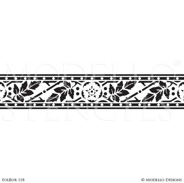 Foliate Leaves Design for Wall Mural Painting - Border Stencils from Modello Custom Stencils