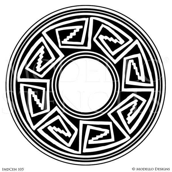 Circle Medallion for Painting Ceilings and Wall Art with African Tribal Designs - Modello Custom Stencils