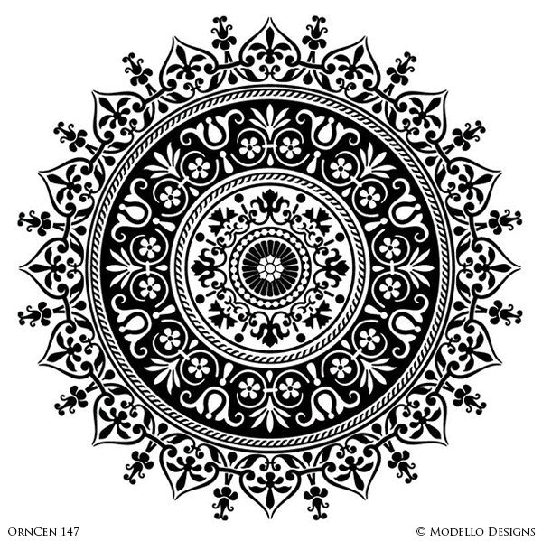 Ornamental Ceiling Decor or Concrete Floor Makeover - Modello Adhesvie Custom Medallion Stencils for Exotic and High End Decorative Painting